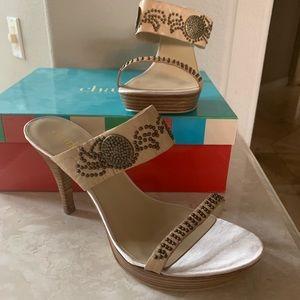 NIB Charles David high heel sandals studs leather